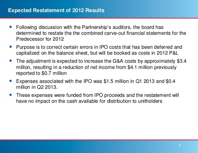 Restatement of financial statements for ipo