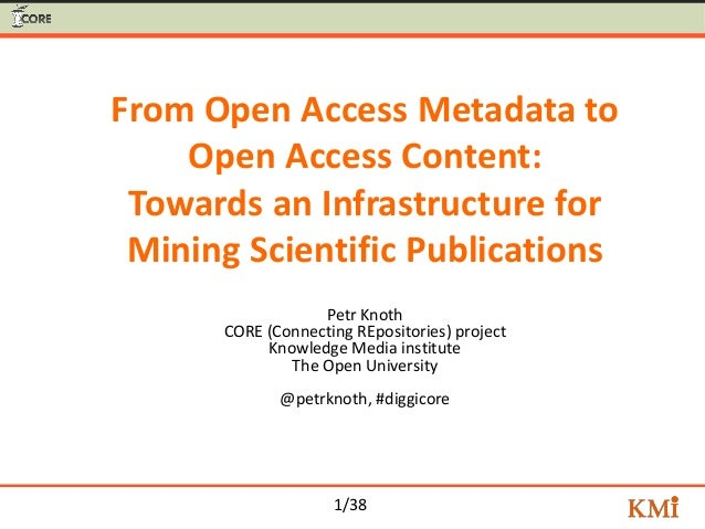 1/38 From Open Access Metadata to Open Access Content: Towards an Infrastructure for Mining Scientific Publications Petr K...