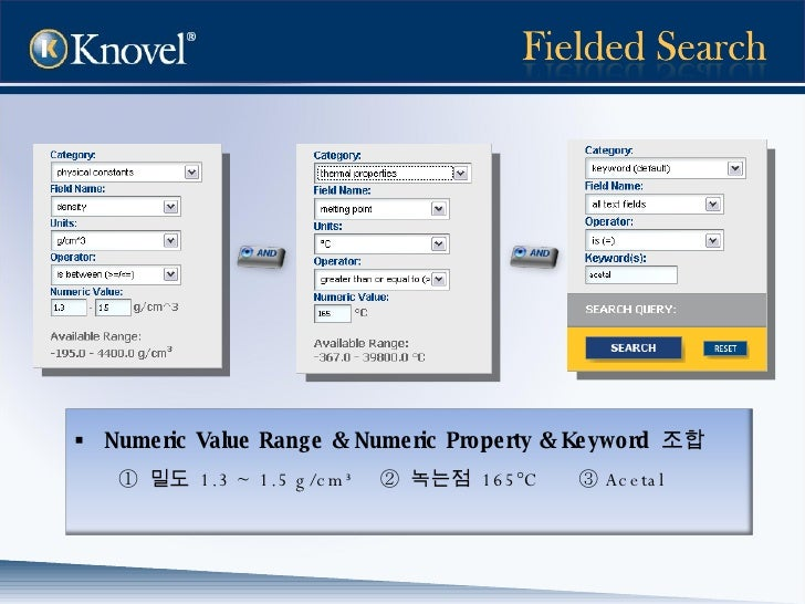 <ul><li>Numeric Value Range & Numeric Property & Keyword  조합 </li></ul><ul><li>①   밀도  1.3 ~ 1.5 g/cm³  ②  녹는점  165°C  ③ A...