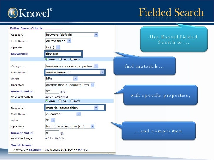 Use Knovel Fielded Search to … find materials… .. and composition with specific properties,