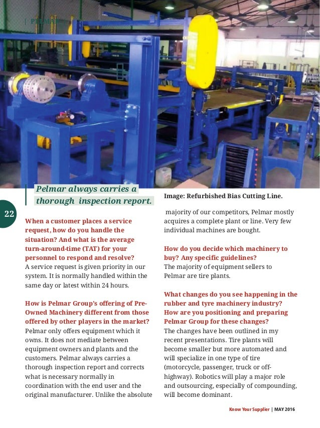 Know Your Supplier - Rubber & Tyre Machinery World May 2016