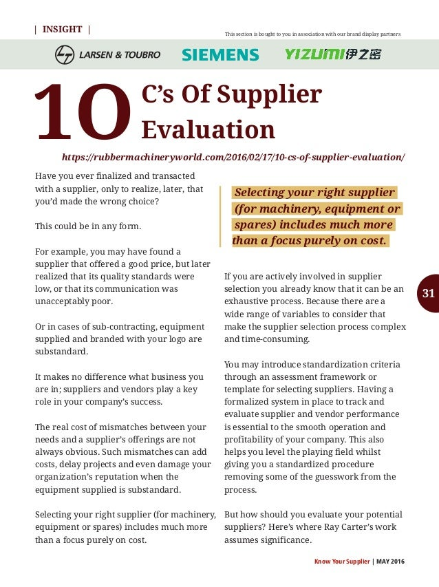 Know Your Supplier | MAY 2016 Rebuilding an internal mixer can be less expensive than purchasing a new machinery. Your pro...