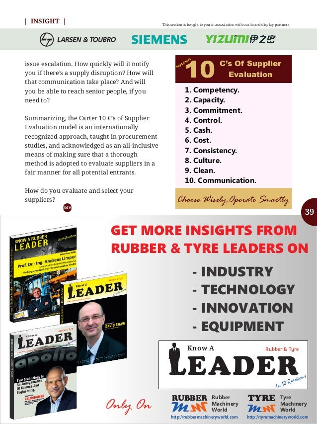 Know Your Supplier - Rubber & Tyre Machinery World May 2016 Special