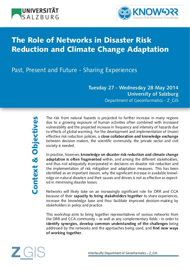 The Role of Networks in Disaster Risk Reduction and Climate Change Adaptation Past, Present and Future - Sharing Experienc...