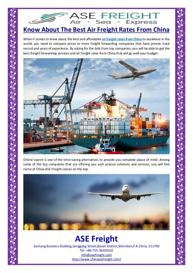 Know about the best air freight rates from china