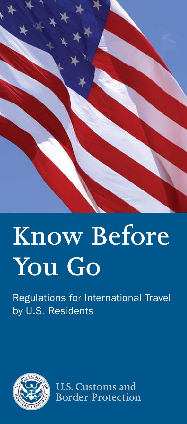 Know Before You Go Regulations for International Travel by U.S. Residents