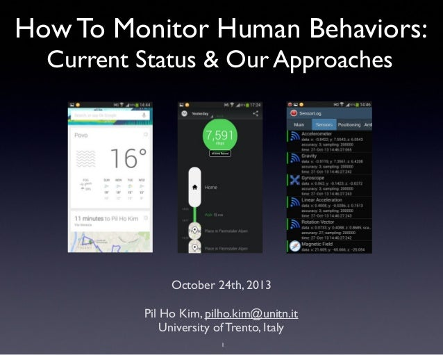 How To Monitor Human Behaviors: Current Status & Our Approaches  October 24th, 2013 Pil Ho Kim, pilho.kim@unitn.it Univers...