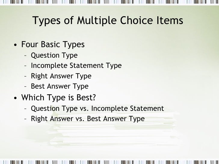 Multiple choice or essay