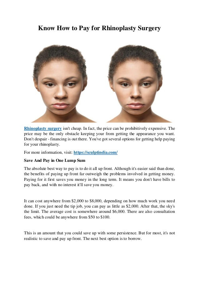 Know How To Pay For Rhinoplasty Surgery