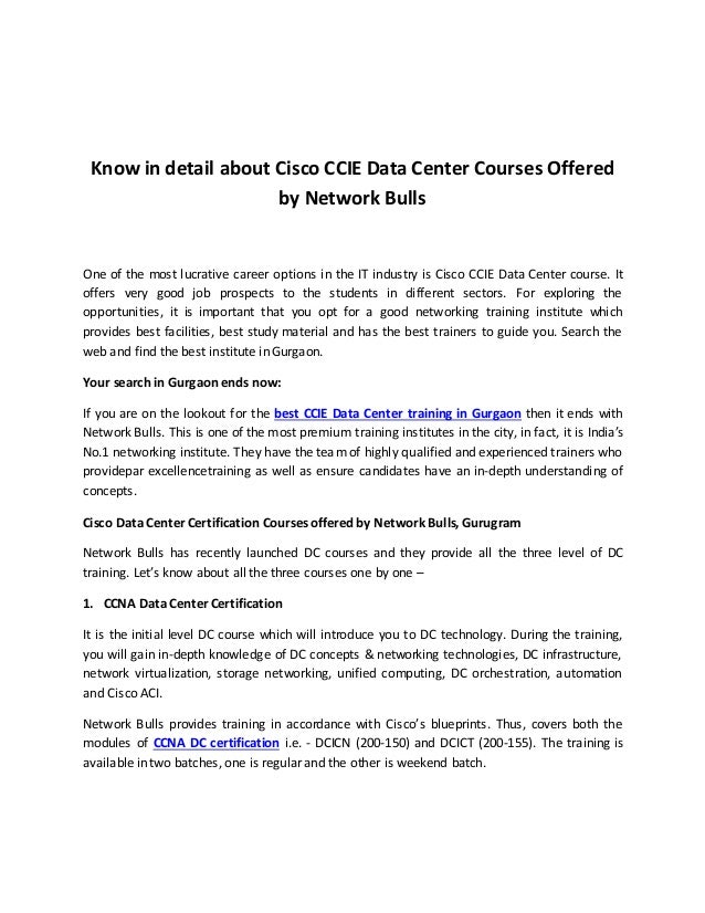 Know In Detail About Cisco Ccie Data Center Courses Offered By Networ