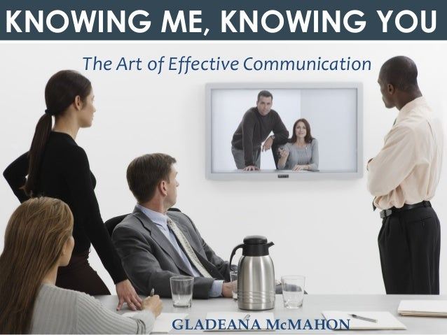 © Gladeana McMahon, 2013KNOWING ME, KNOWING YOUThe Art of Effective CommunicationGLADEANA McMAHON