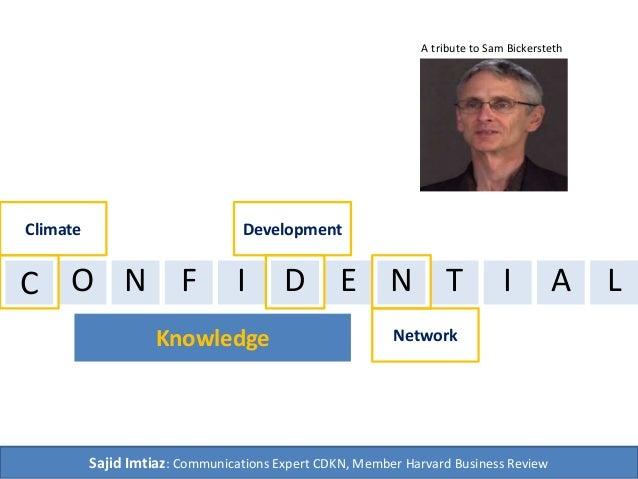 Climate Development  C  A tribute to Sam Bickersteth  O N F I D E N T I A  Knowledge  Network  Sajid Imtiaz: Communication...