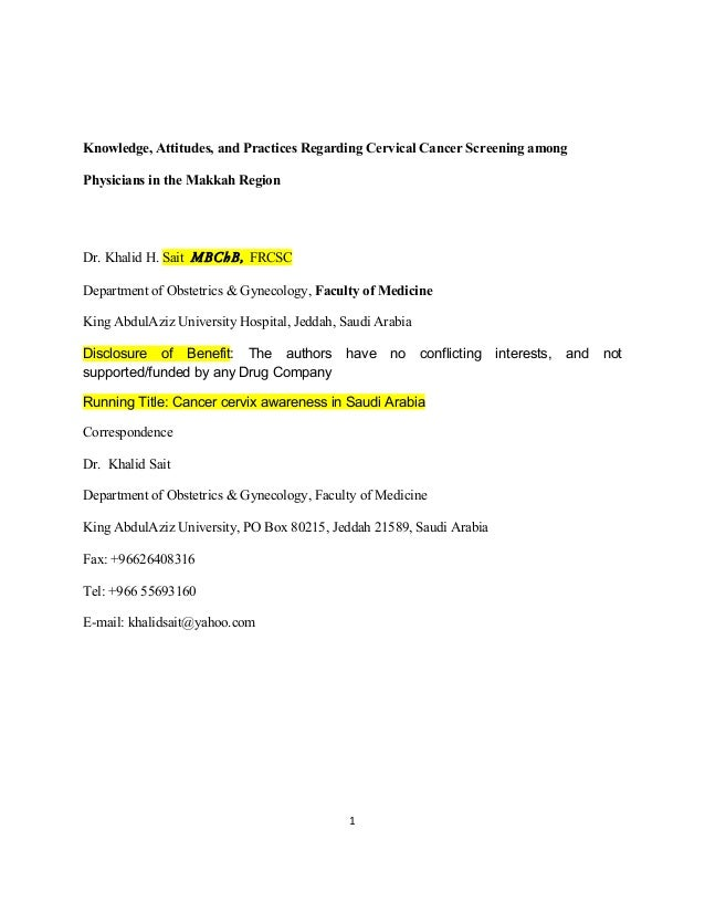 Knowledge, attitudes, and practices regarding cervical cancer screening among physicians in Western Region of Saudi Arabia...
