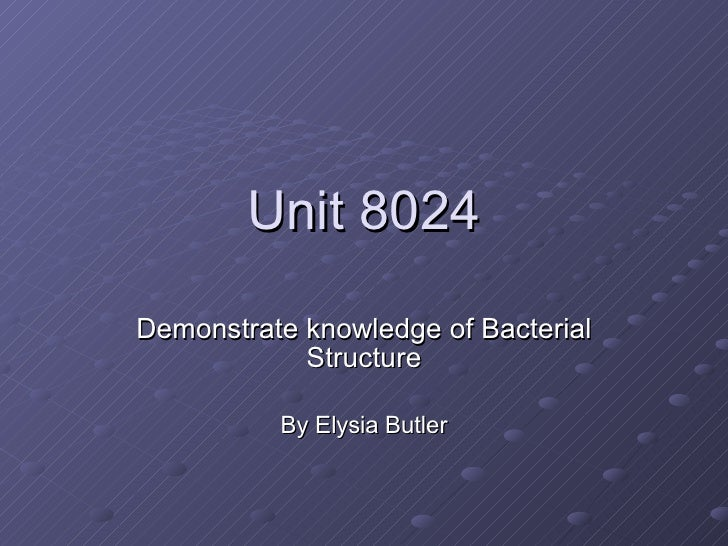 Unit 8024 Demonstrate knowledge of Bacterial Structure By Elysia Butler