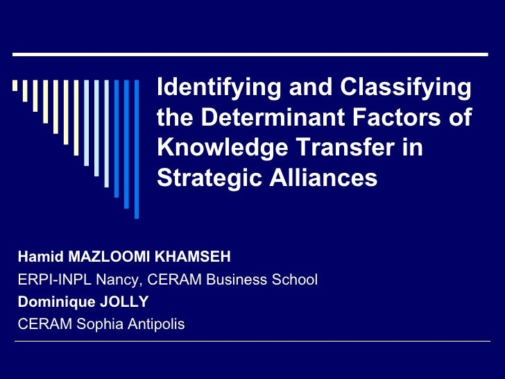 Identifying and Classifying the Determinant Factors of Knowledge Transfer in Strategic Alliances Hamid MAZLOOMI KHAMSEH ER...