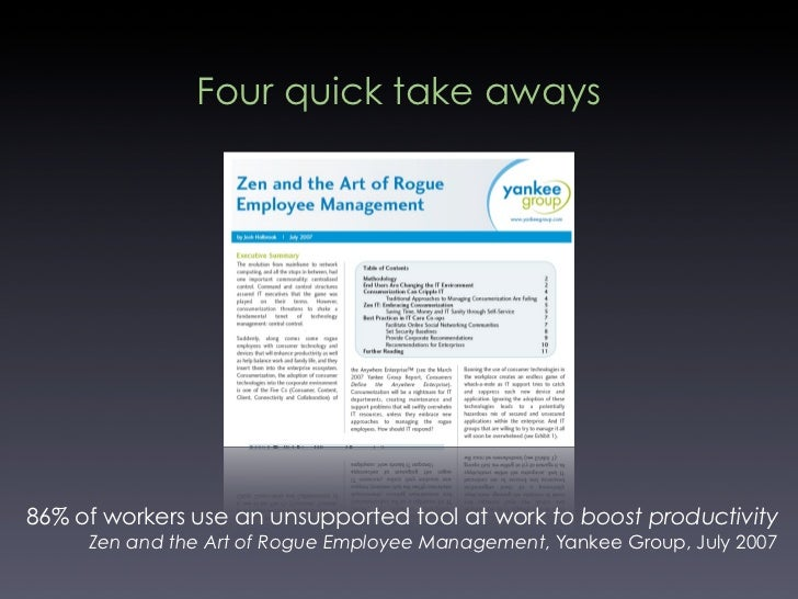 Four quick take aways     86% of workers use an unsupported tool at work to boost productivity      Zen and the Art of Rog...