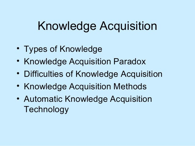 Artificial Intelligence Knowledge Acquisition