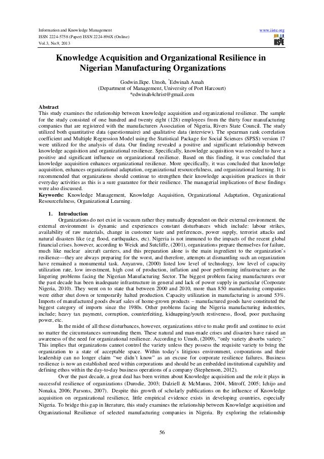 Information and Knowledge Management  www.iiste.org  ISSN 2224-5758 (Paper) ISSN 2224-896X (Online) Vol.3, No.9, 2013  Kno...