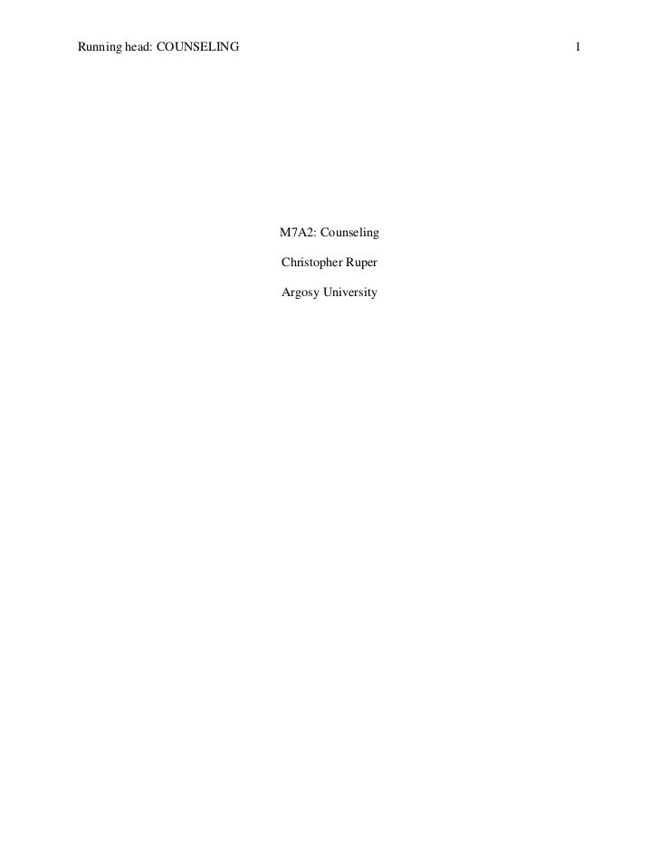 Running head: COUNSELING                       1                           M7A2: Counseling                           Chri...