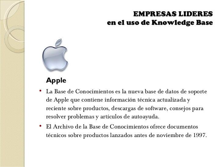 EMPRESAS LIDERES  en el uso de Knowledge Base    <ul><li>Apple </li></ul><ul><li>La Base de Conocimientos es la nueva base...