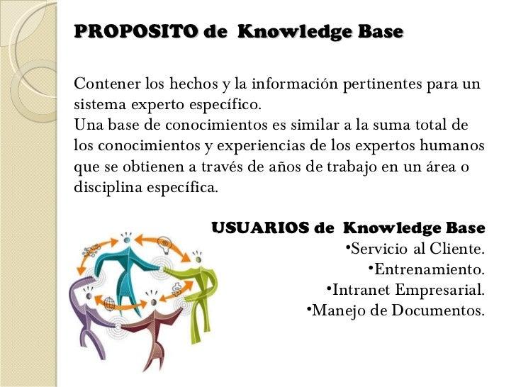 PROPOSITO de  Knowledge Base  <ul><li>Contener los hechos y la información pertinentes para un sistema experto específico....