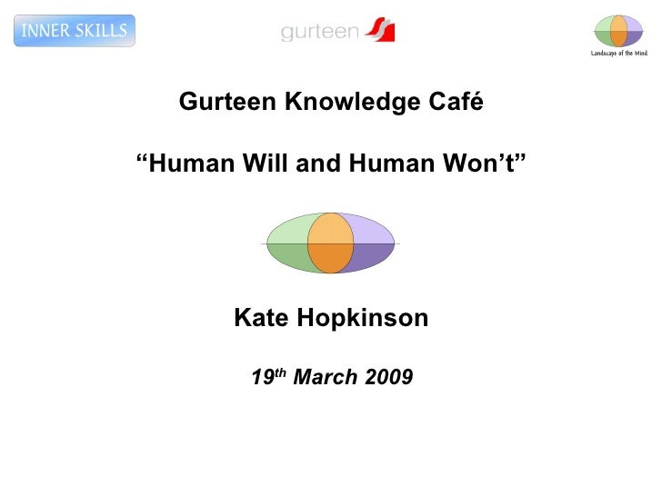 "Gurteen Knowledge Café "" Human Will and Human Won't"" Kate Hopkinson 19 th  March 2009"