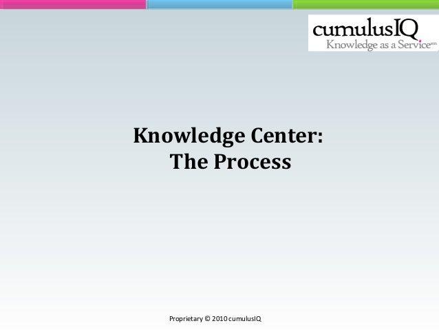 Knowledge Center: The Process Proprietary © 2010 cumulusIQ