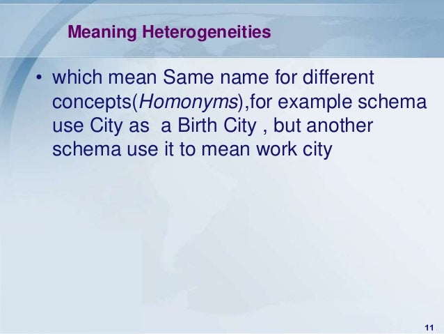 Meaning Heterogeneities• which mean Same name for different  concepts(Homonyms),for example schema  use City as a Birth Ci...
