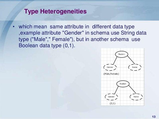 "Type Heterogeneities• which mean same attribute in different data type  ,example attribute ""Gender"" in schema use String d..."