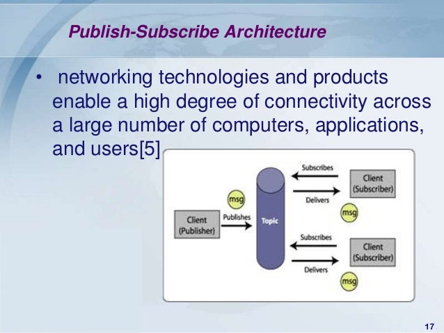 Publish-Subscribe Architecture• networking technologies and products  enable a high degree of connectivity across  a large...