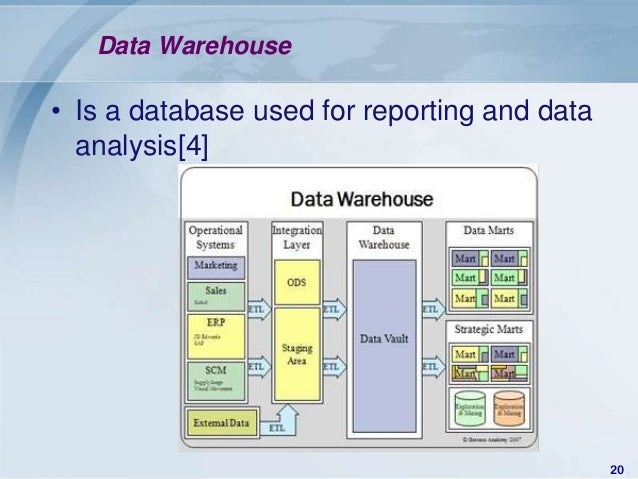 Data Warehouse• Is a database used for reporting and data  analysis[4]                                              20