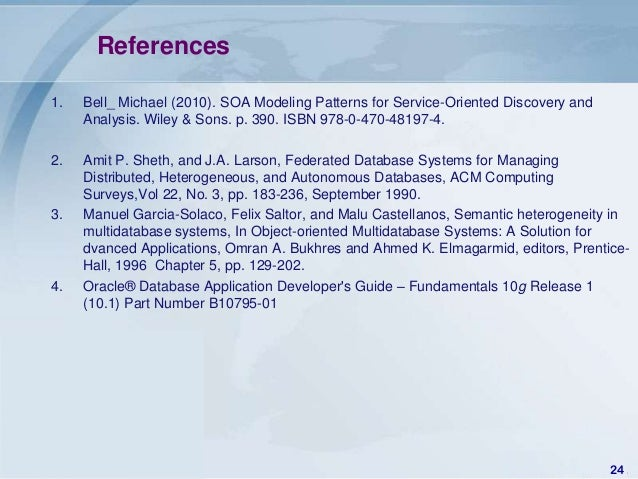 References1.   Bell_ Michael (2010). SOA Modeling Patterns for Service-Oriented Discovery and     Analysis. Wiley & Sons. ...