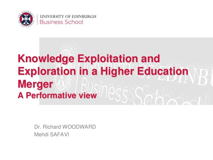 Knowledge Exploitation andExploration in a Higher EducationMergerA Performative view   Dr. Richard WOODWARD   Mehdi SAFAVI