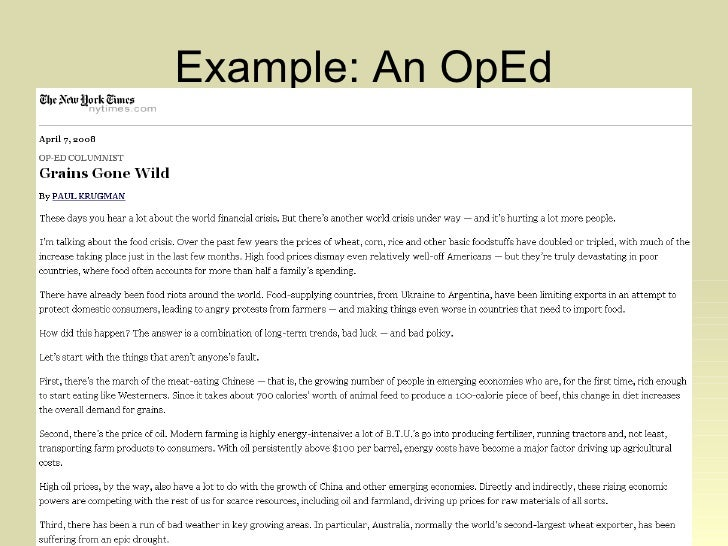 op ed article How to write an op-ed article faculty experts and other members of the  carleton community who have an interesting opinion to share (and.