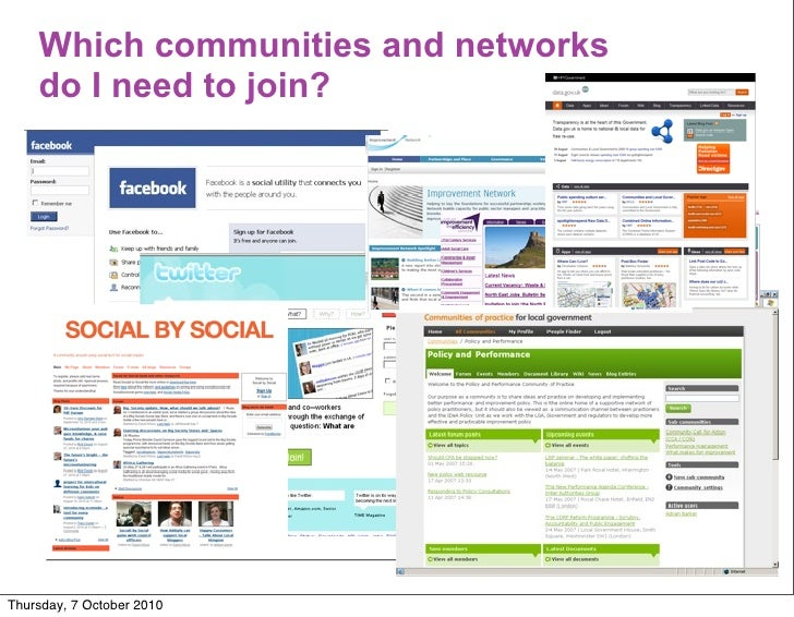 Which communities and networks     do I need to join?     Thursday, 7 October 2010