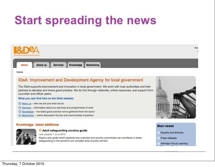 Start spreading the news     Thursday, 7 October 2010