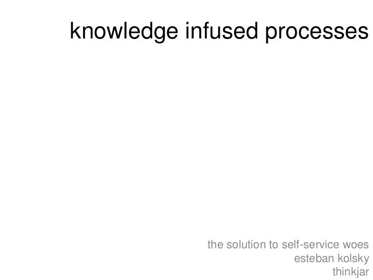 knowledge infused processes            the solution to self-service woes                              esteban kolsky      ...
