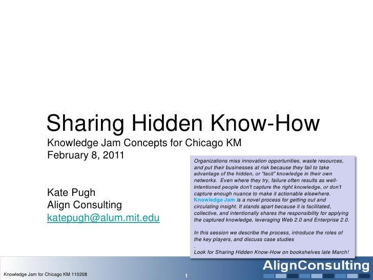 Sharing Hidden Know-How                  Knowledge Jam Concepts for Chicago KM                  February 8, 2011          ...
