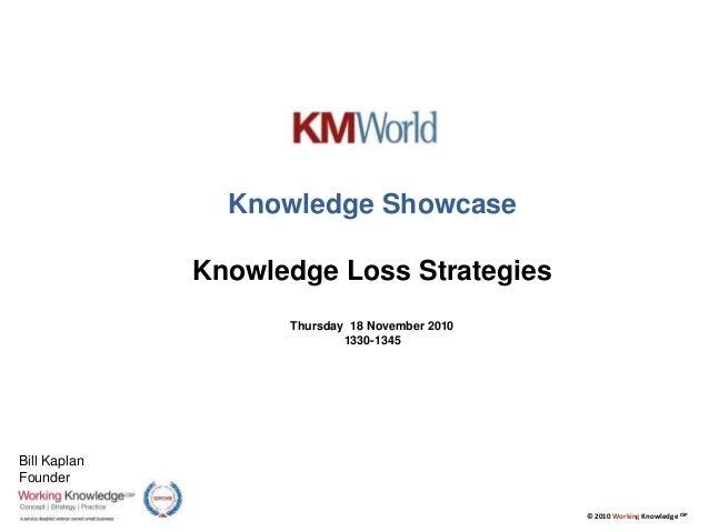 © 2010 Working Knowledge CSP Knowledge Showcase Knowledge Loss Strategies Thursday 18 November 2010 1330-1345 Bill Kaplan ...