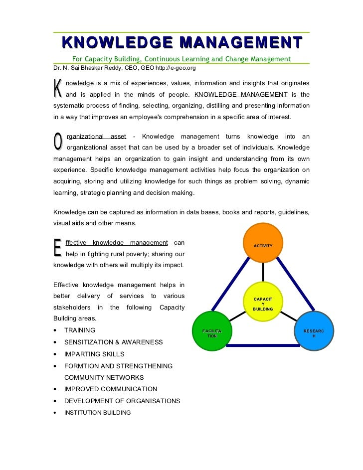 KNOWLEDGE MANAGEMENT         For Capacity Building, Continuous Learning and Change ManagementDr. N. Sai Bhaskar Reddy, CEO...