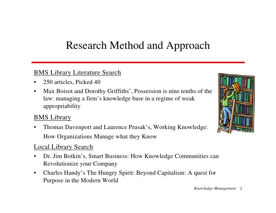 Research Method and Approach  BMS Library Literature Search •   250 articles, Picked 40 •   Max Boisot and Dorothy Griffit...