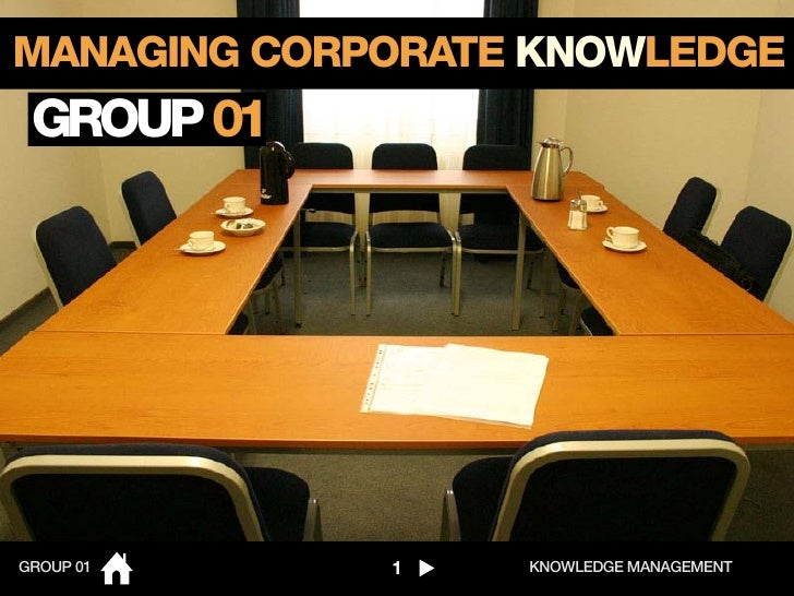 MANAGING CORPORATE KNOWLEDGE GROUP 01GROUP 01     1    KNOWLEDGE MANAGEMENT