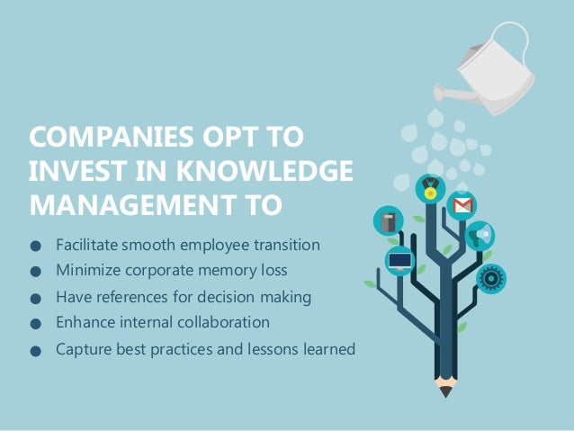 COMPANIES OPT TO INVEST IN KNOWLEDGE MANAGEMENT TO Facilitate smooth employee transition Minimize corporate memory loss Ha...