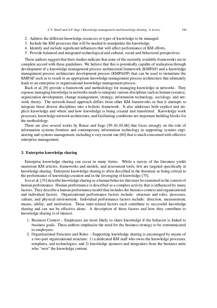 knowledge management and knowledge sharing 9 c t small and a p sage knowledge management