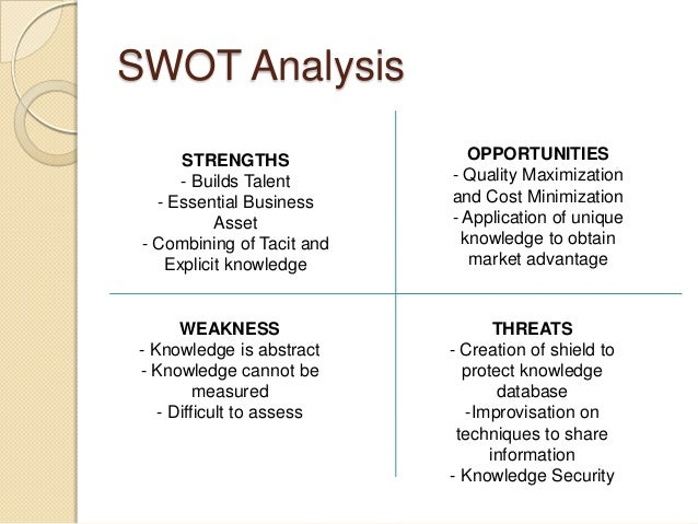 knowledge management swot analysis