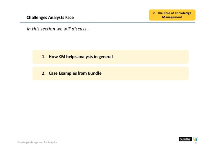 2. The Role of Knowledge       Challenges Analysts Face                                  Management        In this section...