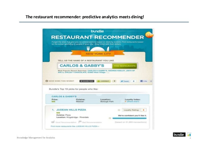 The restaurant recommender: predictive analytics meets dining!Knowledge Management for Analytics                          ...