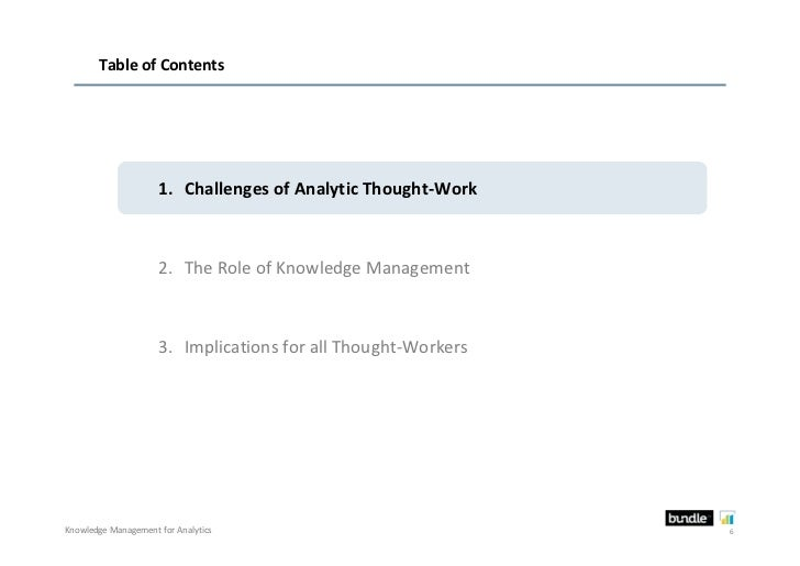 Table of Contents                     1. Challenges of Analytic Thought-Work                     2. The Role of Knowledge ...