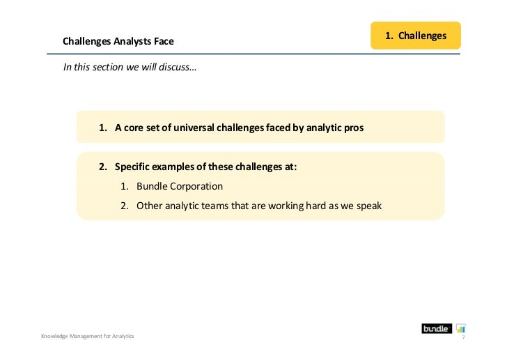 1. Challenges       Challenges Analysts Face        In this section we will discuss…                     1. A core set of ...