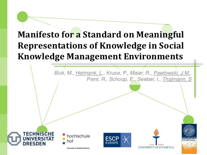 Manifesto for a Standard on MeaningfulRepresentations of Knowledge in SocialKnowledge Management Environments        Bick,...